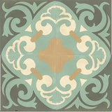 "Mission Espanola Original Colorway 8""x8"" Encaustic Cement Tile - 4 tiles showing complete design"