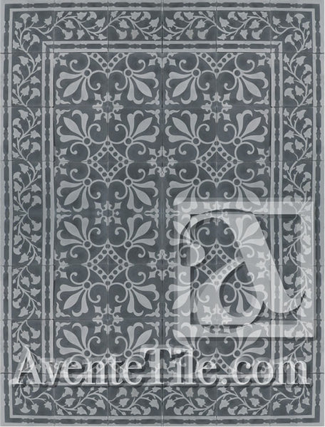 Cuban Heritage Design 230 3A Encaustic Cement Tile Rug