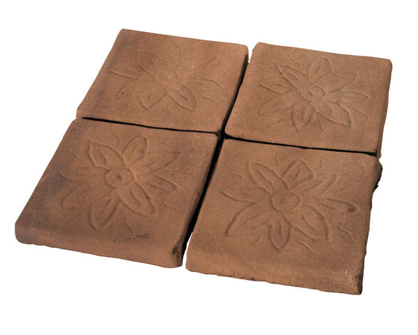 "Flower Deco Rustic Relief Deco Tile 5""x5"" - Cotto Dark"