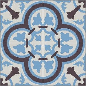 "Classic Cluny D 8"" x 8"" Cement Tile"