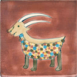 Whimsical Animal Goat Tile
