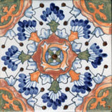 "Spanish Andalucia Crackle Finish 6"" x 6"" Hand Painted Ceramic Tile"