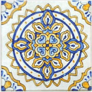 "Spanish Aranjuez 6"" x 6"" Hand Painted Ceramic Tile"