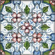 "Spanish Mallorca 6"" x 6"" Hand Painted Ceramic Tile"