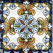 "Spanish Teruel 6"" x 6"" Hand Painted Ceramic Tile"