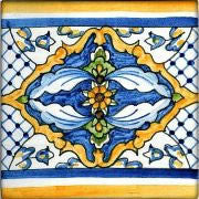 "Spanish Valencia 6"" x 6"" Hand Painted Ceramic Tile"