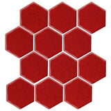 "Malibu Field 4"" Hexagon Fire Engine Red #7622C Ceramic Tile"