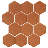 "Malibu Field 4"" Hexagon Red Iron Ceramic Tile"
