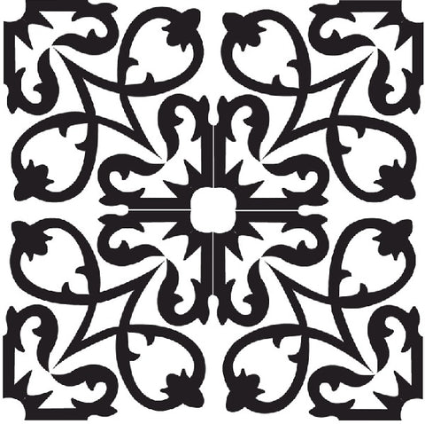 Traditional Manzanillo C (black and white) Encaustic Cement Tile (Group of 4 tiles)