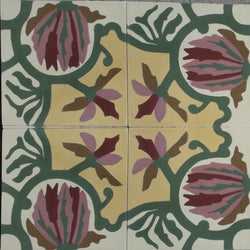Marquette Flower Encaustic Cement Tile Pattern (4 Tiles)