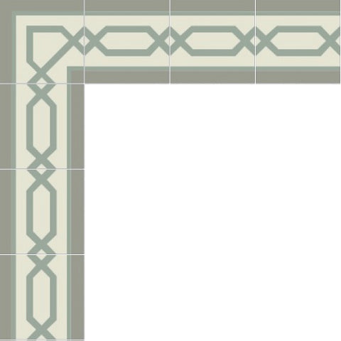 Mission Big Chippendale Border Cement Tile Layout - Gris and Sage