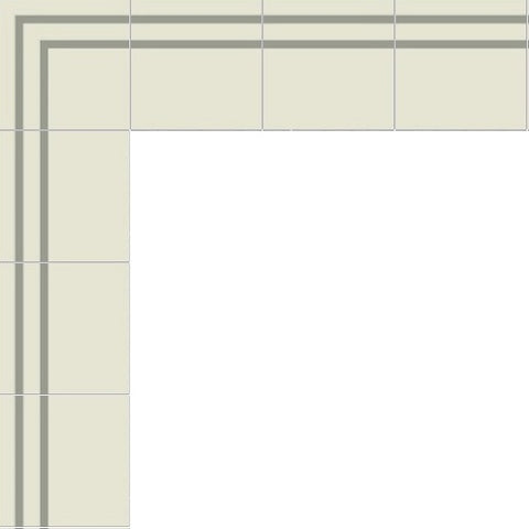 Mission Stripes Border Cement Tile Layout in Gris and White