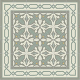 Mission Cement Tile Rug with Big Chippendale Border and Zebra Field