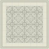 "Mission California Gray Colorway Encaustic Cement Tile 8""x8"" - Rug Design with Stripes Border"