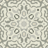 "Mission California Gray Colorway Encaustic Cement Tile 8""x8"" - Quarter Design"