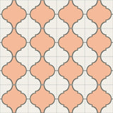 Mission Colonial Relief Cement Rug Layout - Salmon Colorway