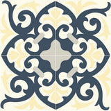 "Mission Espanola Cozy Colorway 8""x8"" Encaustic Cement Tile - 4 tiles shown (complete quarter design)"