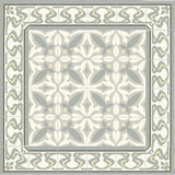 "Mission Ghent Border with Zebra Field 8""x8"" Encaustic Cement Tile Rug n Soft Sage"