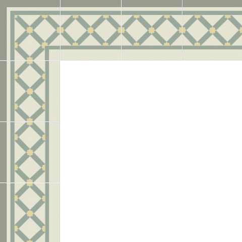 Mission Lattice Border and Corner Layout in Summer Colorway