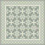 Mission Zebra Cement Tile Rug with Latti Border in Summer Colorway
