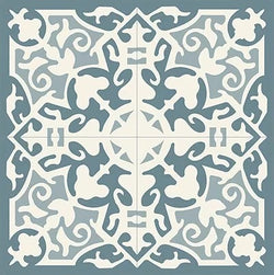 Mission Madrid Azul Encaustic Cement Tile Quarter Design