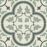 "Mission Roseton Encaustic Cement Tile 8""x8"" Quarter Design in Charcoal and Sage"