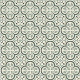 "Mission Roseton Encaustic Cement Tile 8""x8"" Rug in Charcoal and Sage"