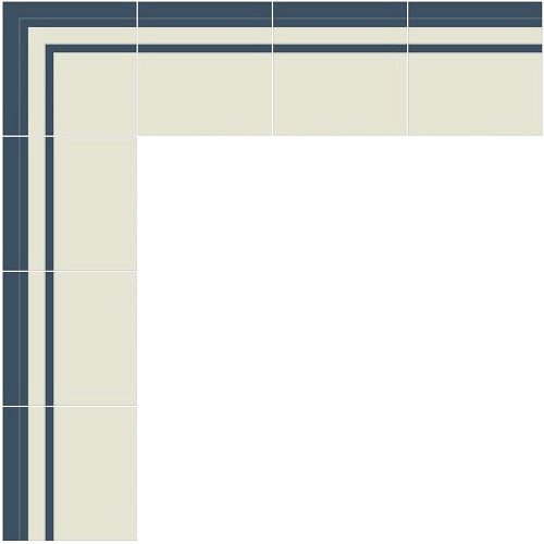 Mission Striped Navy & White Border  Cement Tile Layout