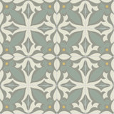 Mission Zebra Encaustic Cement Tile Rug Layout - Sage and Gris Colorway