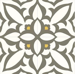 "Mission Zebra Gray Cement Tile 8""x8"" - Quarter Design"