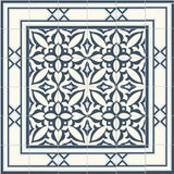 "Mission Santiago Navy Border 8""x8"" Encaustic Cement Tile Around Zebra Navy"