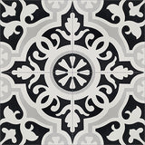 "Mission Amalia Black Encaustic Cement Tile 8""x8"""