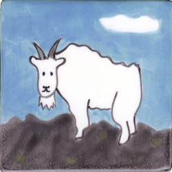 Whimsical Animal Mountain Goat Tile