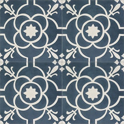 "Mission Paris Encaustic Cement Tile 8""x8"" - Navy"