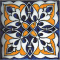"Portuguese Ruan 4"" x 4"" Hand Painted Ceramic Tile"
