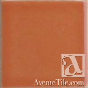 "Pool Tile Persimmon 6"" x 6"" Handmade Porcelain Tile"