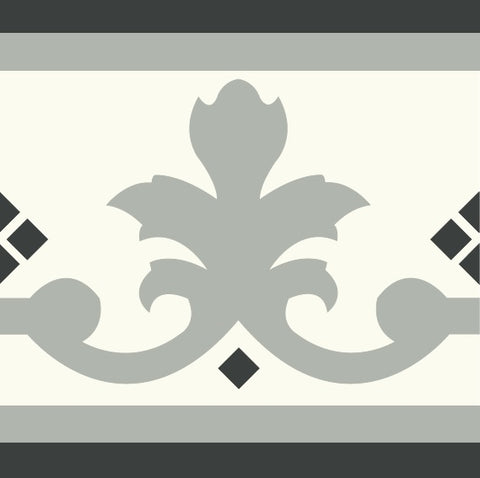 "Mission Queen Border 8"" x 8"" in Clermont Colorway (Sage, White, Black)"