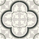 "Mission Roseton Green and Gray Encaustic Cement Tile 8""x8"" Grouping of 4 Tiles"