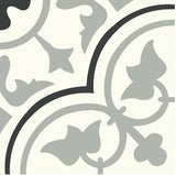 "Mission Roseton 8""x8"" Cement Tile - Clermont Colorway (Sage, Black, White)"
