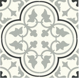 "Mission Roseton 8""x8"" Cement Tile (4 tiles) in Clermont Colorway (Sage, Black, White)"