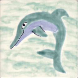 Whimsical Sea Life Dolphin 2 Tile