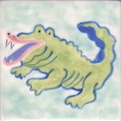 Whimsical Sea Life Gator Tile