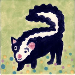 Whimsical Animal Skunk Tile