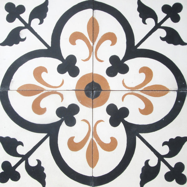 Traditional Fleur de Lis Clover Encaustic Cement Tile Quarter Design