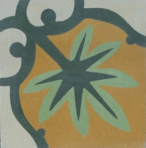 "Marquette Palm Encaustic Cement Tile 8""x8"""