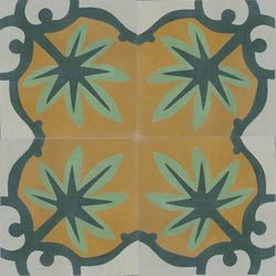 Marquette Palm Encaustic Cement Tile Quarter Design
