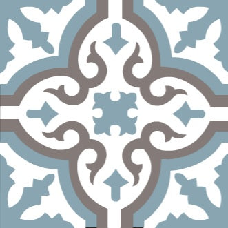 "Traditional Neiba E Encaustic Cement Tile 8""x8"" - one tile"