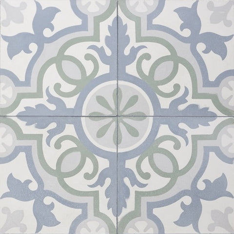 Traditional Seville Colorway 2 Quarter Design Encaustic Cement Tile