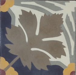 "Traditional Whitman Encaustic Cement Tile Pattern (Stylized Leaf and Flower) 8""x8"""