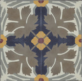 "Traditional Whitman Encaustic Cement Tile Quarter Design Pattern (Stylized Leaf and Flower) 8""x8"""